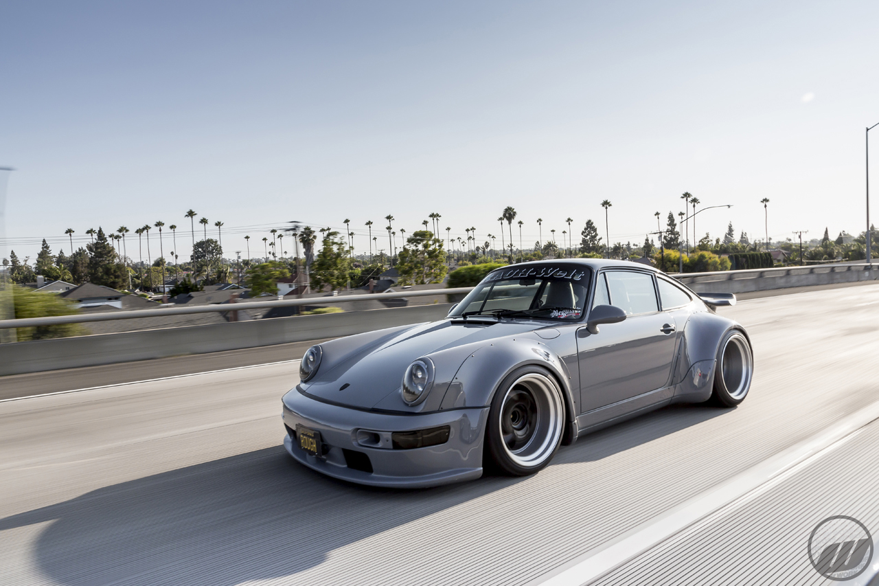 Jon Sibal's Porsche 964 on WORK Meister S1 3P (19″) in Black (BLK) Finish w/ Hairline Barrel Finish & Black Assembly Bolts – Photo by WORK Wheels Japan