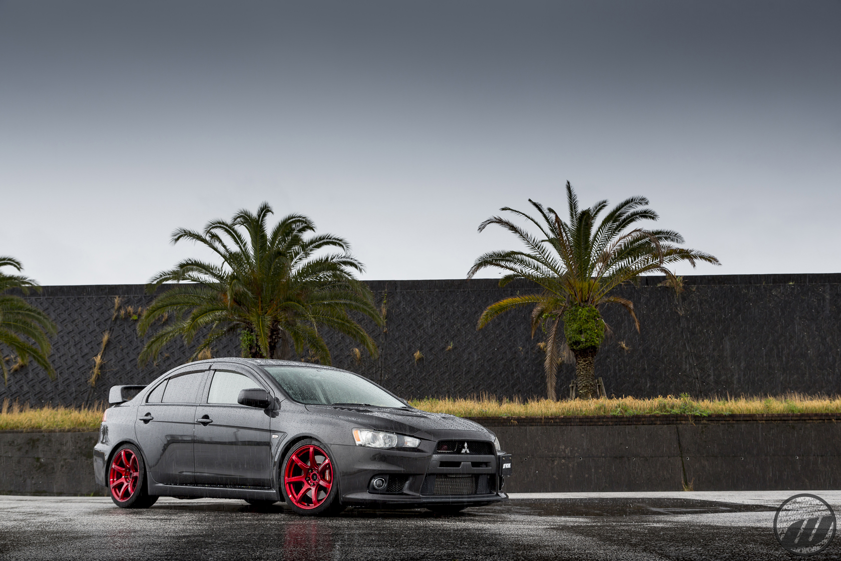 TIREKAN Mitsubishi Evolution X on WORK Emotion T7R in Candy Red (CAR) Finish – Photo by WORK Wheels Japan